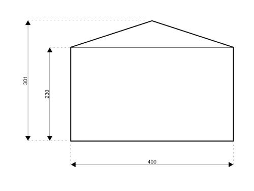 Satteldach 4 meter seite