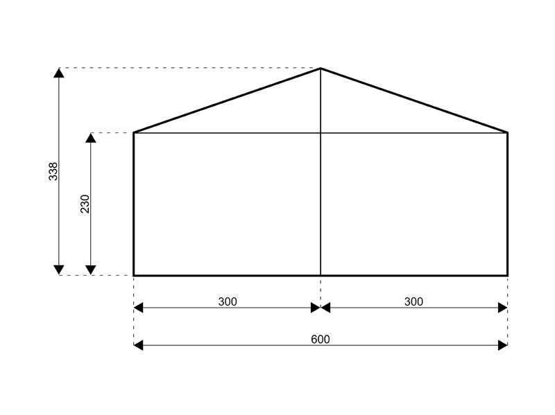 Satteldach 6 Meter Seite