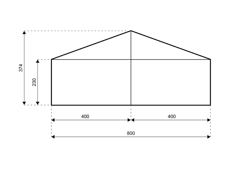 Satteldach 8 meter breite