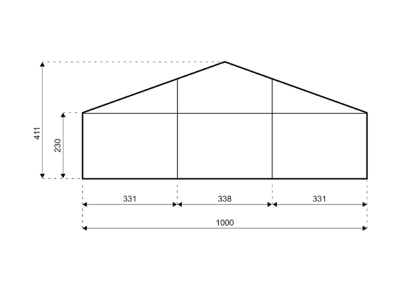 Satteldach 10 meter breite